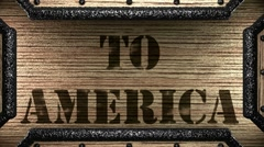To america on wooden stamp Stock Footage