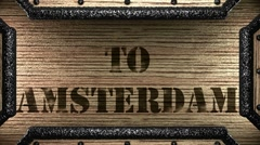 To amsterdam on wooden stamp Stock Footage