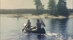 MAN WOMAN CANOEING KAYAKING Sports Summer 1960s Vintage Film Home Movie 516 - stock footage