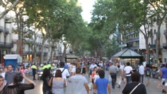 Wide sot La Rambla - soft focus Stock Footage