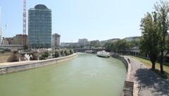 Landscape in Vienna - Danube channel Stock Footage