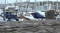 Old Cobbled Quayside Stock Footage