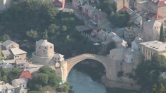 Stari Most. Old Bridge, Mostar 2 Stock Footage