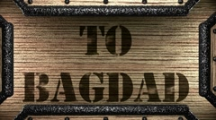 To bagdad on wooden stamp Stock Footage