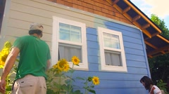 Painting Blue House Time Lapse Stock Footage