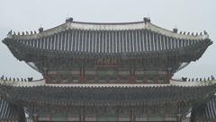 Signboard of Heungyemun at Gwanghwamun in Korea on a rainy day Stock Footage