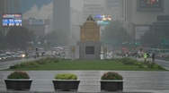 Statue of King Sejong in front of Gwanghwamun in Korea on a rainy day Stock Footage