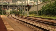 Platform at Train Station in Korea Stock Footage