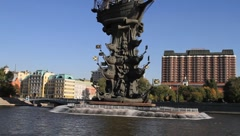 Moscow Scene Boat Tour Stock Footage