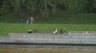 Stock Video Footage of Tracking shot of Moscow park seen from boat tour