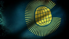 Commonwealth of Nations Flag Waving, grunge look Stock Footage