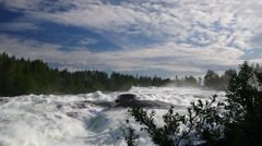 Storforsen Waterfall in Sweden Stock Footage
