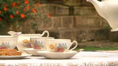 Tea Service Outdoors Stock Footage