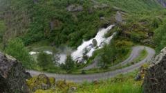 Waterfall near Glacier in Norway - stock footage