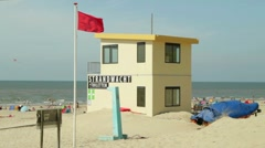 Stock Video Footage of Dutch lifeguard tower on the beach