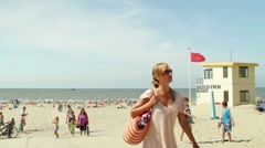 Dutch lifeguard tower on the beach Stock Footage