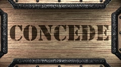 Concede on wooden stamp Stock Footage