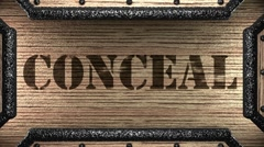 conceal on wooden stamp - stock footage
