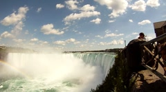 Niagara Falls With Rainbow Shot + Pan From Right To Left - stock footage