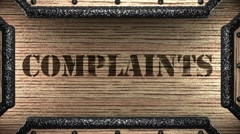 complaints on wooden stamp - stock footage