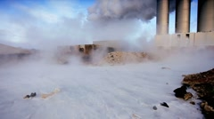 Steam From Energy Producing Geothermal Power Plant Stock Footage