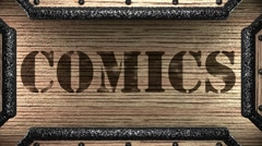Stock Video Footage of comics on wooden stamp