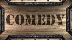 Comedy on wooden stamp Stock Footage