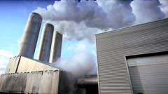 Chimneys at Geothermal Power Plant Stock Footage