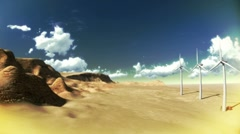 Dry desert with time lapse clouds and windmills wide angle Stock Footage