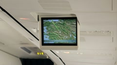 Inside aircraft information LCD screen  about distance and position Stock Footage