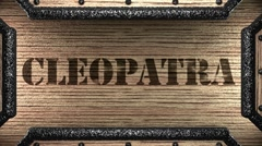 cleopatra on wooden stamp - stock footage
