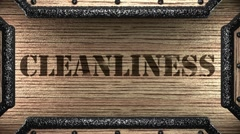 cleanliness on wooden stamp - stock footage