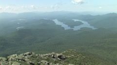 Lake Placid viewed from the Top of Mount Whiteface - stock footage
