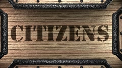 Citizens on wooden stamp Stock Footage