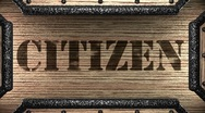 Citizen on wooden stamp Stock Footage