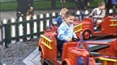 Children Ride Kiddie Ride Firetrucks Toy Train 1950s Vintage Film Home Movie 530 - stock footage