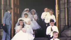 Boys Girls CHRISTIAN Confirmation Communion 1960s Vintage Film Home Movie 535 - stock footage