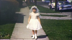 Little Girl Confirmation Dress First Communion 1960s Vintage Film Home Movie 536 Stock Footage