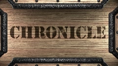 Chronicle on wooden stamp Stock Footage