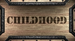 childhood on wooden stamp - stock footage