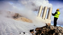 Stock Video Footage of Geothermal Engineer Recording Data