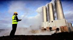 Geothermal Engineer Recording Data Stock Footage