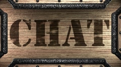 Chat on wooden stamp Stock Footage