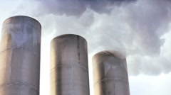 Geothermal Power Station Chimneys Stock Footage