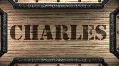 charles on wooden stamp - stock footage
