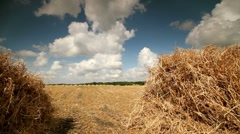 Hay Bale Scenery Stock Footage