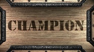 Stock Video Footage of champion on wooden stamp
