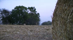 Farmer Round Baling Hay Stock Footage