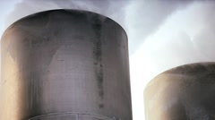 Chimneys & Steam from Geothermal Energy Plant Stock Footage