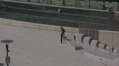 Kids skateboarding on the cool cement Stock Footage